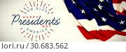 Купить «Composite image of god bless america. happy presidents day. vector typography», фото № 30683562, снято 9 июля 2020 г. (c) Wavebreak Media / Фотобанк Лори