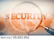 Купить «Magnifying glass showing security word», фото № 30683902, снято 24 мая 2019 г. (c) Wavebreak Media / Фотобанк Лори