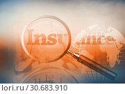 Купить «Magnifying glass revealing the word insurance written in red», фото № 30683910, снято 24 мая 2019 г. (c) Wavebreak Media / Фотобанк Лори