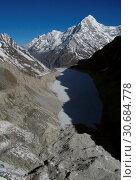 Купить «NEPAL Trakarding Glacier -- 16 Apr 2005 -- Aerial view of Tsho Rolpa - a glacial lake at the foot of the Trakarding Glacier, which is remarkable as it...», фото № 30684778, снято 23 мая 2019 г. (c) age Fotostock / Фотобанк Лори