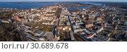Купить «Ленинградская область, город Выборг, панорамный вид сверху», фото № 30689678, снято 26 апреля 2019 г. (c) glokaya_kuzdra / Фотобанк Лори