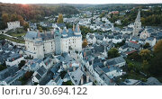 Купить «Aerial view of medieval castle of Chateau de Langeais located in commune of same name in Indre-et-Loire department, France», видеоролик № 30694122, снято 25 октября 2018 г. (c) Яков Филимонов / Фотобанк Лори
