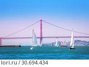 San Francisco bay with yachts and ships, USA (2015 год). Стоковое фото, фотограф Сергей Новиков / Фотобанк Лори