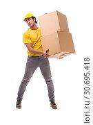 Купить «Young male courier with box», фото № 30695418, снято 9 ноября 2018 г. (c) Elnur / Фотобанк Лори