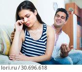 Купить «Man trying to reconcile with woman», фото № 30696618, снято 18 июня 2019 г. (c) Яков Филимонов / Фотобанк Лори