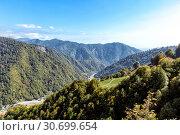 Купить «View of the Caucasus Mountains in a sunny day», фото № 30699654, снято 25 сентября 2015 г. (c) Евгений Ткачёв / Фотобанк Лори