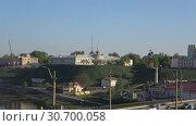 Купить «Вид на Новый замок апрельским утром. Гродно, Белоруссия», видеоролик № 30700058, снято 30 апреля 2019 г. (c) Виктор Карасев / Фотобанк Лори