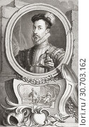 Robert Dudley, 1st Earl of Leicester, c. 1532/1533-1588. English nobleman, favourite and friend of Queen Elizabeth I. From the 1813 edition of The Heads... (2019 год). Редакционное фото, фотограф Classic Vision / age Fotostock / Фотобанк Лори