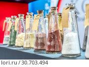 Купить «Chemical reagents in glass jars.», фото № 30703494, снято 28 августа 2018 г. (c) Андрей Радченко / Фотобанк Лори