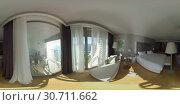 360 VR Interior of hotel room overlooking the sea. Holiday in Antalya, Turkey. Стоковое фото, фотограф Данил Руденко / Фотобанк Лори