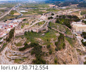 Panoramic view from drone of the castle Sagunto in summer. Valencian Community, Spain (2019 год). Стоковое фото, фотограф Яков Филимонов / Фотобанк Лори