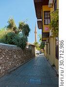 Купить «Street of old town Kaleici in Antalya, Turkey», фото № 30712986, снято 22 сентября 2018 г. (c) Наталья Двухимённая / Фотобанк Лори