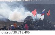 Купить «German tank is fired at a demonstration of military action», видеоролик № 30718406, снято 3 апреля 2016 г. (c) Aleksandr Sulimov / Фотобанк Лори