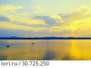 Купить «Sea landscape. Summer sunny water scene with unidentified people in the boats, concept of summer sea vacation», фото № 30725250, снято 16 августа 2013 г. (c) Зезелина Марина / Фотобанк Лори