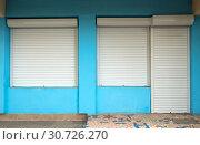 Купить «Входная дверь и окна, защищенные роликовыми ставнями», фото № 30726270, снято 13 сентября 2018 г. (c) Вячеслав Палес / Фотобанк Лори