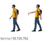 Купить «Student with backpack isolated on white», фото № 30726762, снято 28 июля 2017 г. (c) Elnur / Фотобанк Лори