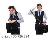 Купить «Young businessman with cuffs isolated on white», фото № 30726894, снято 16 марта 2015 г. (c) Elnur / Фотобанк Лори