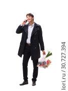 Купить «Young handsome man with vegatables in shopping concept», фото № 30727394, снято 3 августа 2018 г. (c) Elnur / Фотобанк Лори