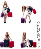 Купить «Beautiful woman in polka dot dress with suitcases isolated on wh», фото № 30727710, снято 25 февраля 2020 г. (c) Elnur / Фотобанк Лори