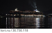 Купить «Cruise Liner Norwegian Jewel sailing in Sea Port of Pacific Ocean at dark night», видеоролик № 30730118, снято 9 мая 2019 г. (c) А. А. Пирагис / Фотобанк Лори