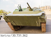 Купить «Armored military equipment on the embankment to Volgograd», фото № 30731362, снято 27 апреля 2019 г. (c) Владимир Арсентьев / Фотобанк Лори