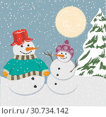 Купить «Vintage christmas poster with snowmen, vector illustration», фото № 30734142, снято 4 августа 2020 г. (c) easy Fotostock / Фотобанк Лори