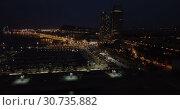 Купить «Aerial view of autumn twilight in Barcelona, Spain», видеоролик № 30735882, снято 28 сентября 2018 г. (c) Яков Филимонов / Фотобанк Лори