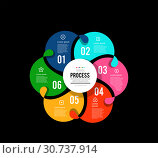 Circular infographics showing the process of 6 steps flowing from one to another. Vector illustration. Стоковая иллюстрация, иллюстратор Павлов Максим / Фотобанк Лори