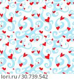 Купить «Vector seamless pattern with swirl and hearts», иллюстрация № 30739542 (c) Helen Burceva / Фотобанк Лори