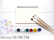 Купить «Artistic paintbrushes, placed on a drawing book with watercolors.», фото № 30745734, снято 4 июля 2018 г. (c) easy Fotostock / Фотобанк Лори