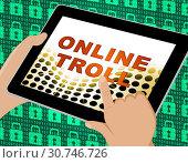 Купить «Online Troll Rude Sarcastic Threat 3d Illustration Shows Cyberspace Bully Tactics By Trolling Cyber Predators», фото № 30746726, снято 13 августа 2014 г. (c) easy Fotostock / Фотобанк Лори