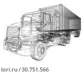 Купить «Truck with semitrailer. Wire-frame style. 3d illustration», фото № 30751566, снято 11 октября 2018 г. (c) easy Fotostock / Фотобанк Лори