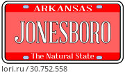 Arkansas state license plate in the colors of the state flag with the city Jonesboro text over a white background. Стоковое фото, фотограф YAY Micro / easy Fotostock / Фотобанк Лори