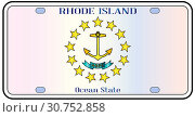 Rhode Island state license plate in the colors of the state flag with the flag icons over a white background. Стоковое фото, фотограф YAY Micro / easy Fotostock / Фотобанк Лори
