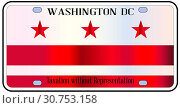 Washington DC state license plate in the colors of the state flag with icons over a white background. Стоковое фото, фотограф YAY Micro / easy Fotostock / Фотобанк Лори