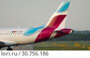 Купить «Airplane turn runway before departure», видеоролик № 30756186, снято 21 июля 2017 г. (c) Игорь Жоров / Фотобанк Лори