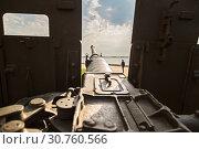 Купить «the barrel of the artillery gun is sent to the sky. A look from the first person», фото № 30760566, снято 27 апреля 2019 г. (c) Владимир Арсентьев / Фотобанк Лори
