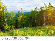 Купить «Forest landscape - mixed forest trees on the mountain slopes and lake under soft sunset light», фото № 30760794, снято 23 августа 2013 г. (c) Зезелина Марина / Фотобанк Лори
