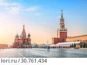 Купить «Нежное голубое утро на Красной площади. Gentle blue sky morning on Red Square», фото № 30761434, снято 21 апреля 2019 г. (c) Baturina Yuliya / Фотобанк Лори