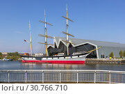Купить «Glenlee tall ship, built in 1896, a three masted barque, now berthed on the River Clyde at the Riverside transport museum, Glasgow, Scotland, Uk.», фото № 30766710, снято 21 апреля 2019 г. (c) age Fotostock / Фотобанк Лори