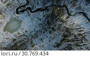 Купить «Полёт на дроне над тайгой. Кольский полуостров. Ранняя весна.», видеоролик № 30769434, снято 25 апреля 2019 г. (c) kinocopter / Фотобанк Лори
