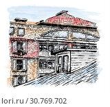 Купить «Dormer window. Sketch.», иллюстрация № 30769702 (c) Любовь Назарова / Фотобанк Лори