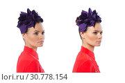 Купить «Pretty model with purple head accessory isolated on white», фото № 30778154, снято 23 июня 2015 г. (c) Elnur / Фотобанк Лори