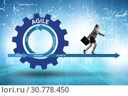 Купить «Businesswoman in agile methods concept», фото № 30778450, снято 18 октября 2019 г. (c) Elnur / Фотобанк Лори