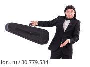Купить «Man with violin isolated on white», фото № 30779534, снято 30 ноября 2013 г. (c) Elnur / Фотобанк Лори