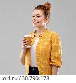 Купить «happy redhead teenage girl with paper coffee cup», фото № 30790178, снято 28 февраля 2019 г. (c) Syda Productions / Фотобанк Лори