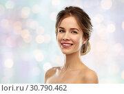Купить «smiling young woman over grey background», фото № 30790462, снято 20 января 2019 г. (c) Syda Productions / Фотобанк Лори