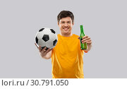 Купить «man or football fan with soccer ball and beer», фото № 30791050, снято 3 февраля 2019 г. (c) Syda Productions / Фотобанк Лори