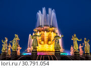 """Купить «Fountain """"Friendship of peoples"""" on the territory of the All-Russian exhibition center (VDNH) at night. Moscow, Russia», фото № 30791054, снято 19 мая 2019 г. (c) Наталья Волкова / Фотобанк Лори"""