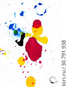 Купить «Абстракция из красок струйного принтера, упавших на бумагу случайным образом», иллюстрация № 30791938 (c) Румянцева Наталия / Фотобанк Лори
